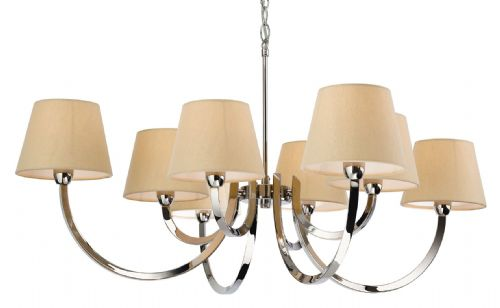 Firstlight 2323PST Polished S/Stl with Cream Linen Shade Fairmont 8 Light Fitting